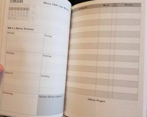 Innenansicht des Terminplaners 2018 mit Wochenübersicht und KW Angabe