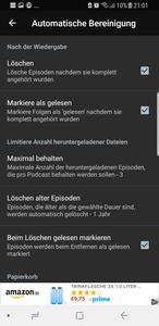 Optimierungen Podcast Addict